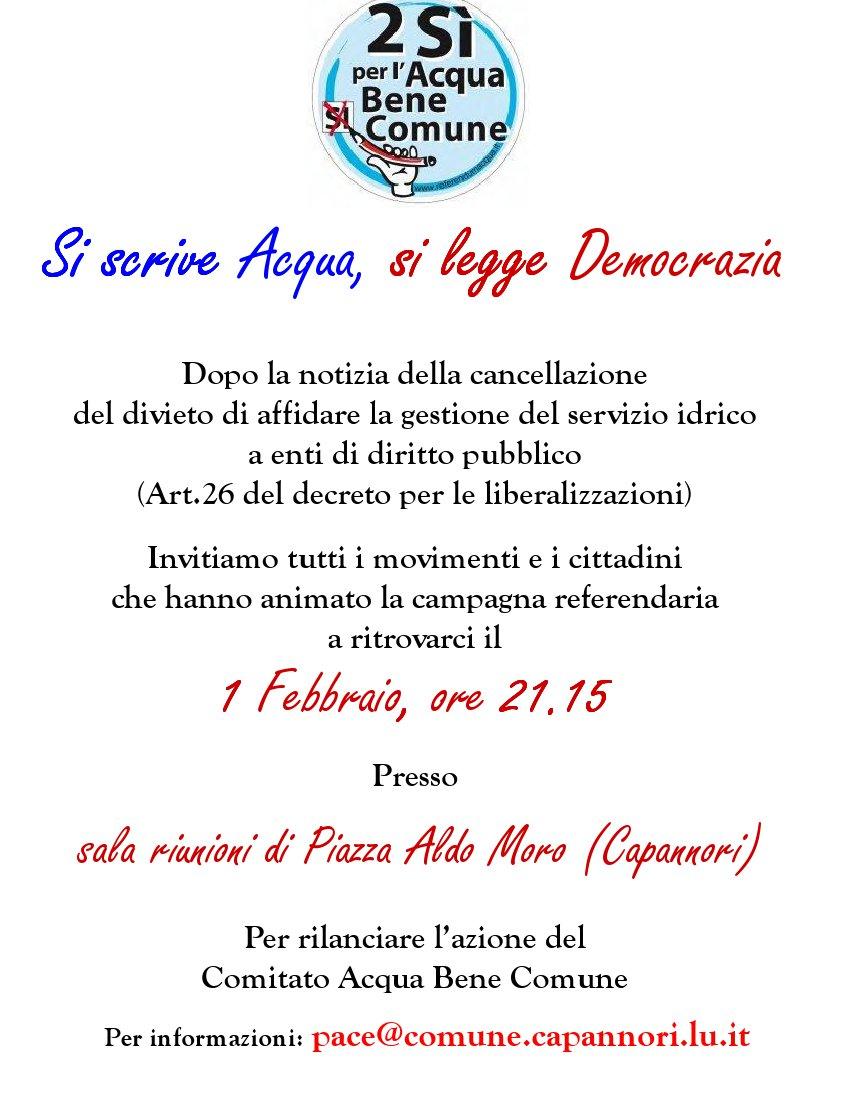 Acqua Bene Comune Lucca, incontriamoci il 1 Febbraio