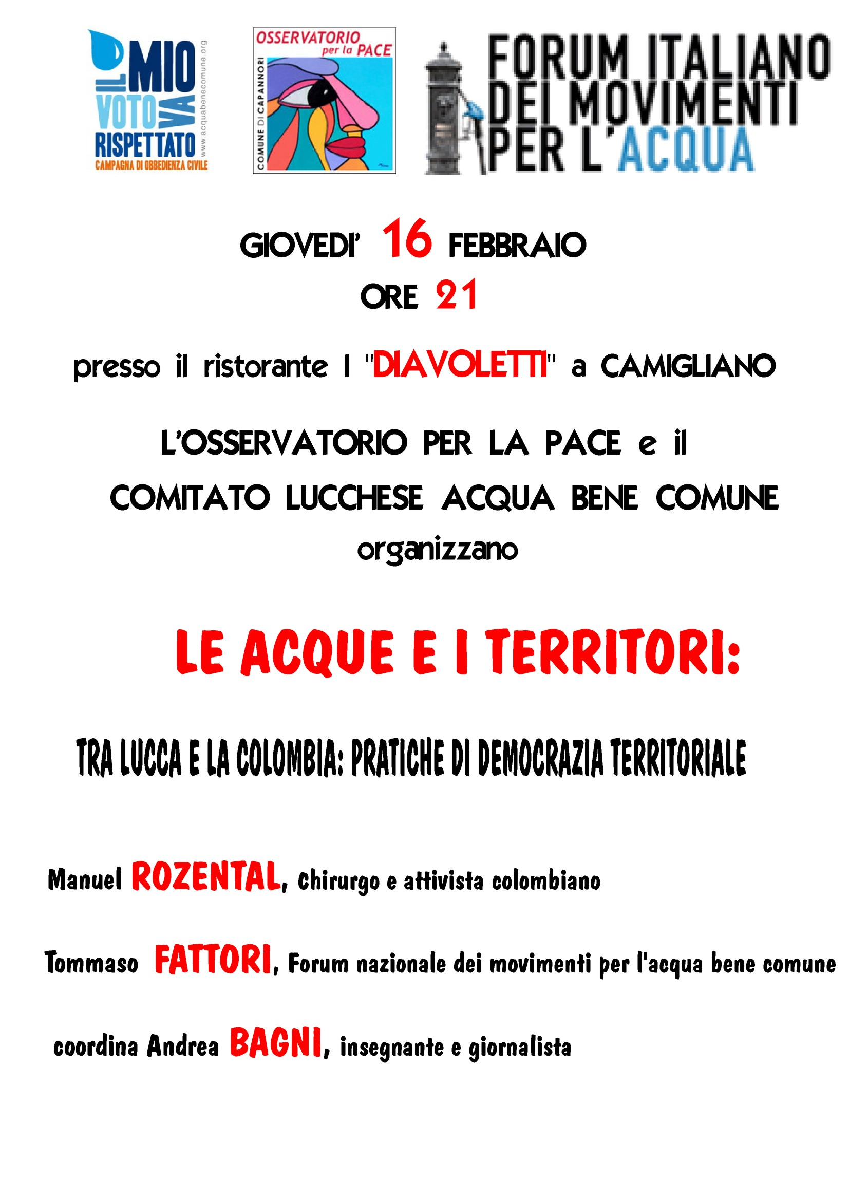 Acque e Territori, pratiche di democrazia territoriale tra Lucca e la Colombia, giovedì sera a Capannori