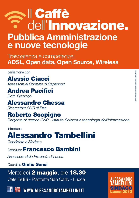 """""""Il Caffè dell'innovazione"""" mercoledì un incontro con esperti con e per Alessandro Tambellini Sindaco"""
