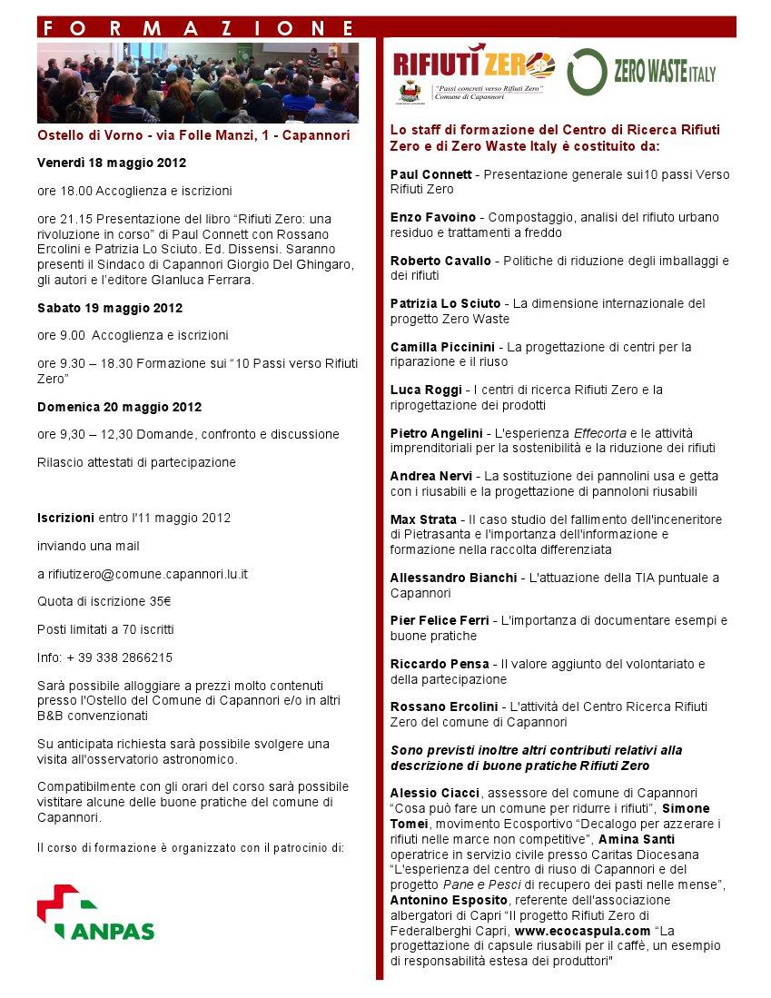 """Incontro di formazione a Capannori """"I dieci passi Verso Rifiuti Zero"""""""