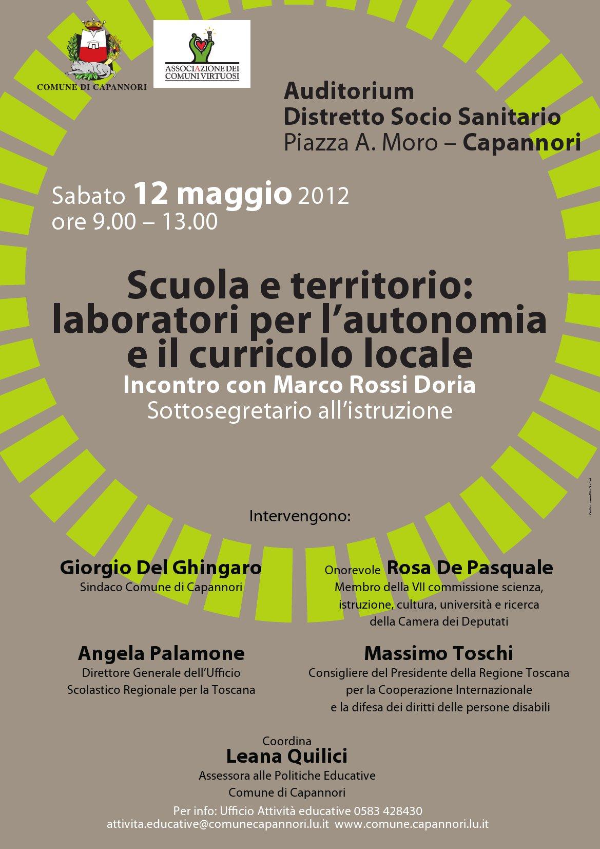 Scuola e territorio: il 12 Maggio Capannori, Regione e Ministero a confronto