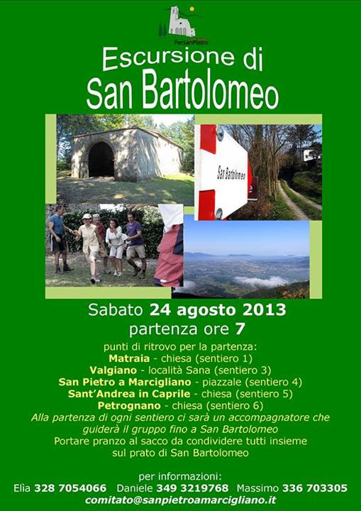 Il 24 Agosto la Camminata di San Bartolomeo in Pizzorna
