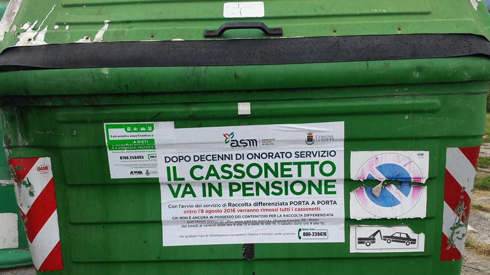 """Partita dal 1 Agosto l'estensione del """"Porta a porta"""" a Rieti"""