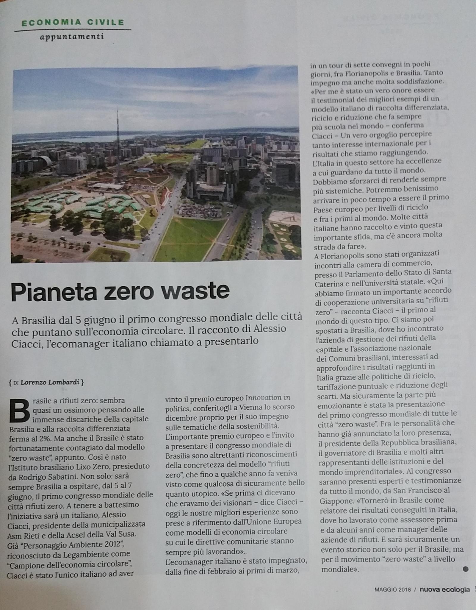 """""""La Nuova Ecologia"""" sul Primo Congresso Città Rifiuti Zero di Brasilia"""