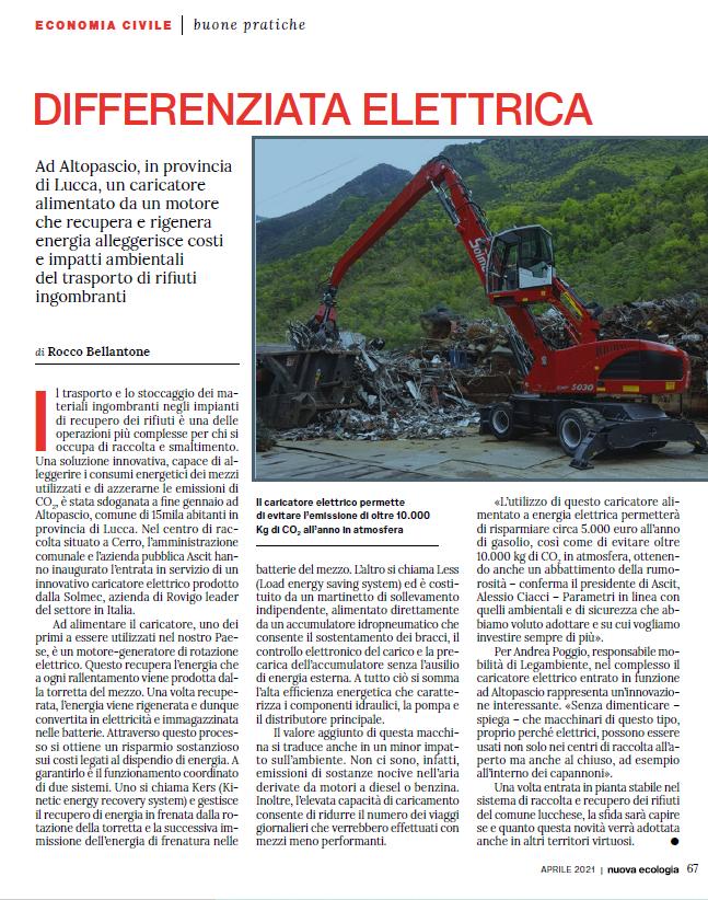 """""""La Nuova Ecologia"""" parla di ASCIT e del nuovo mezzo elettrico operativo ad Altopascio"""